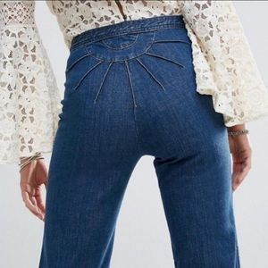 Free People Ray Of Sunshine 29 Wide Leg Jeans Raw